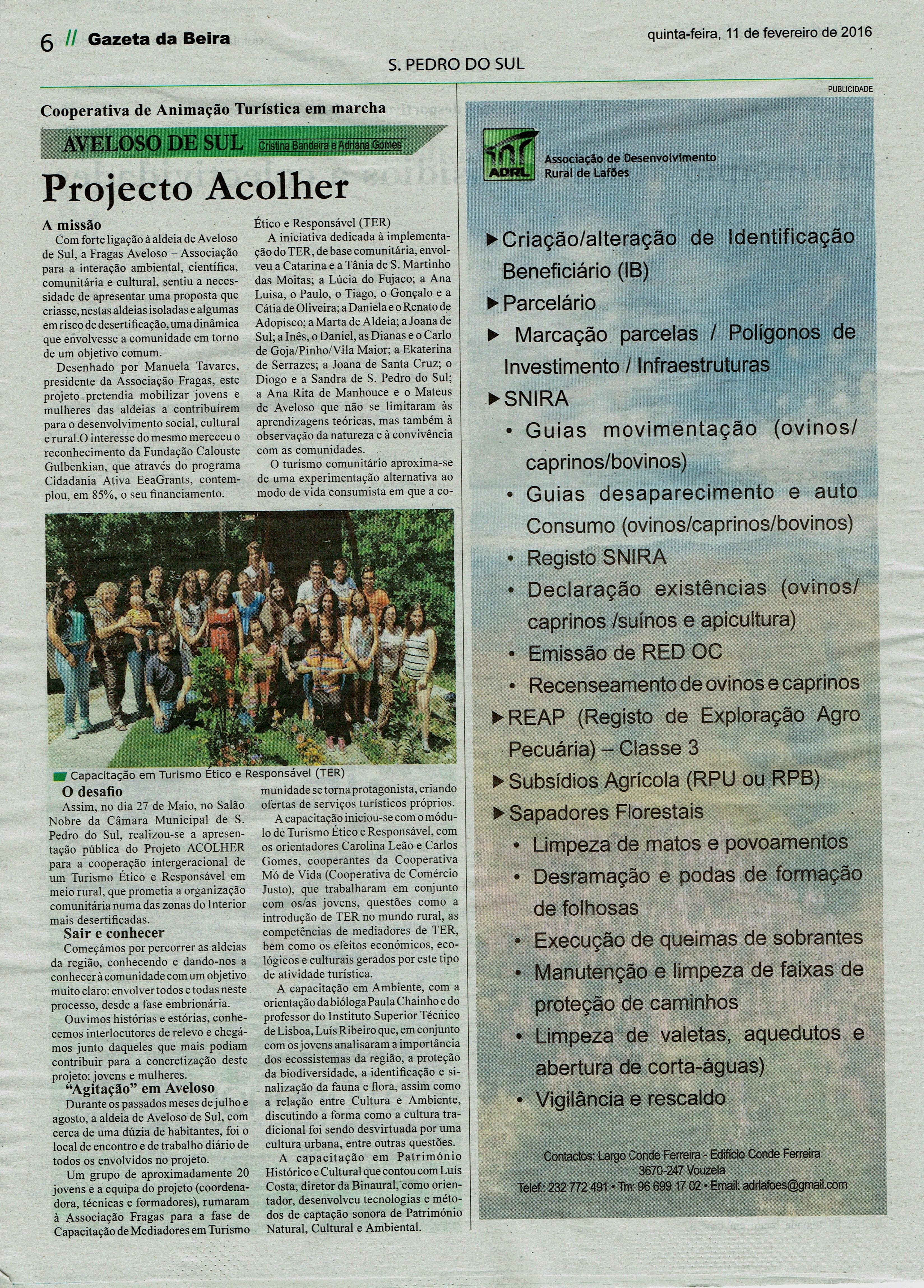 Notícia do Jornal Gazeta da Beira sobre o trabalho desenvolvido pelo Projeto ACOLHER.