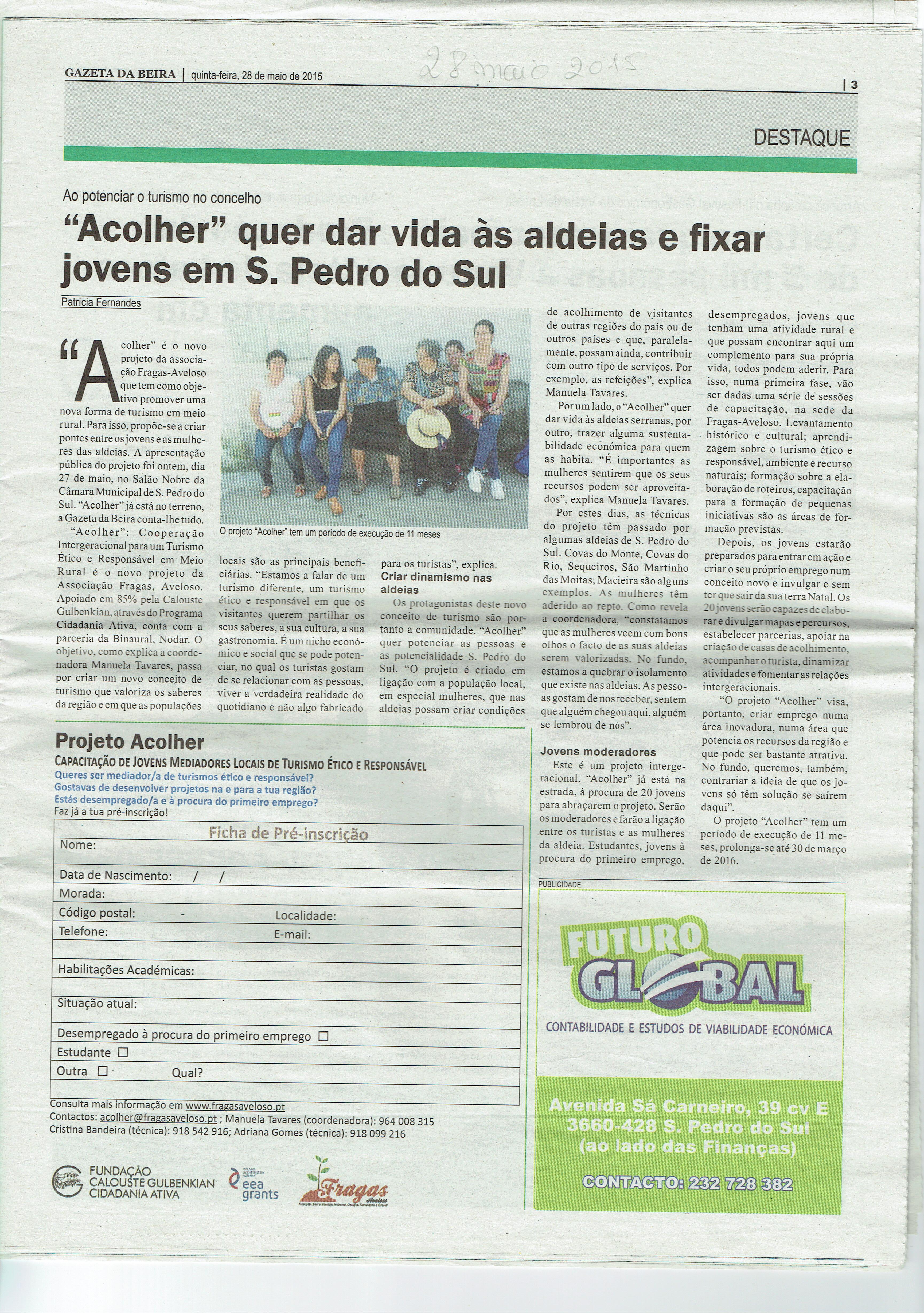 Notícia no jornal Gazeta da Beira sobre o trabalho  a desenvolver no âmbito do Projeto ACOLHER