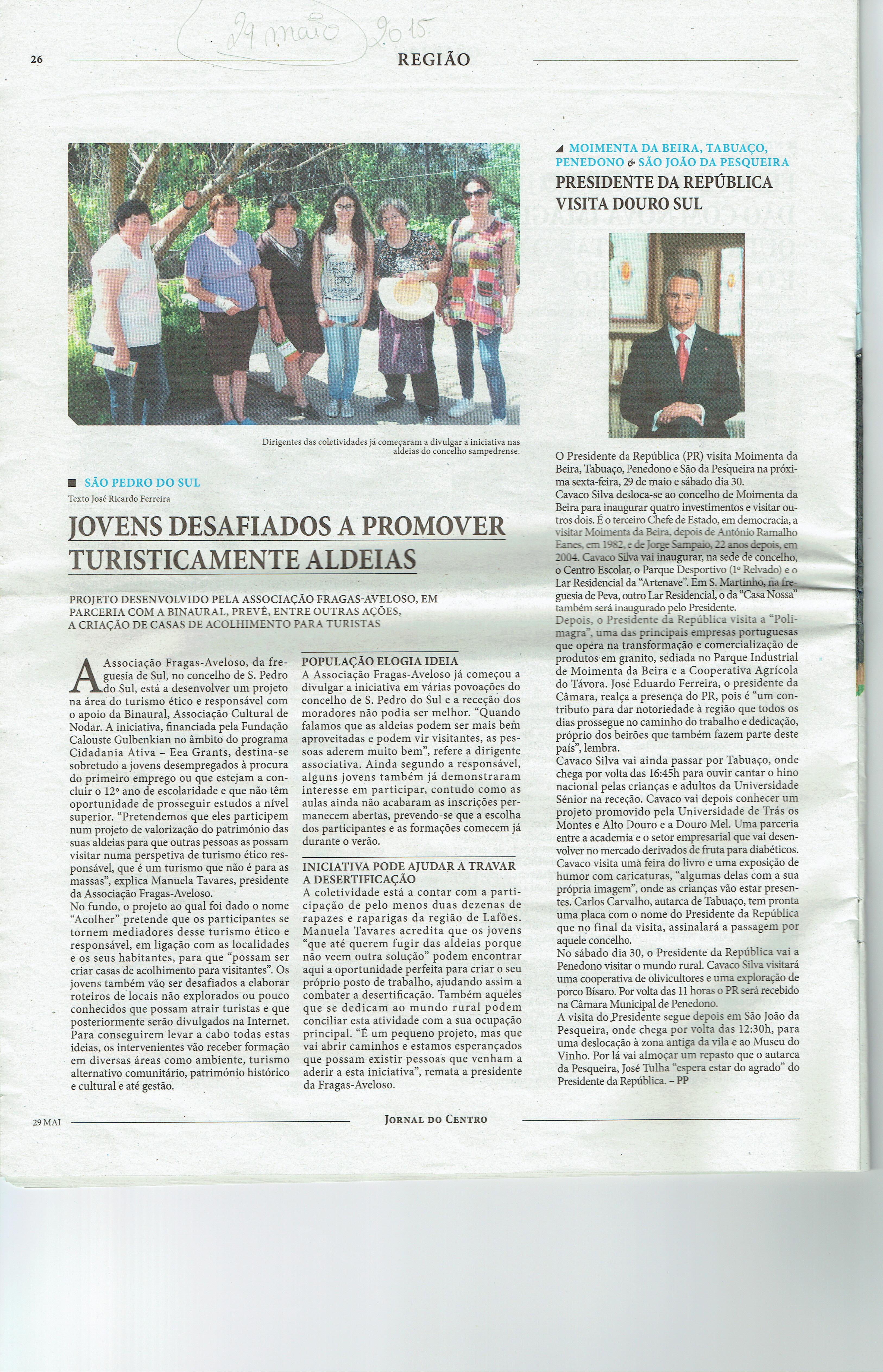 Notícia do Jornal do Centro sobre o trabalho a desenvolver pelo Projeto ACOLHER