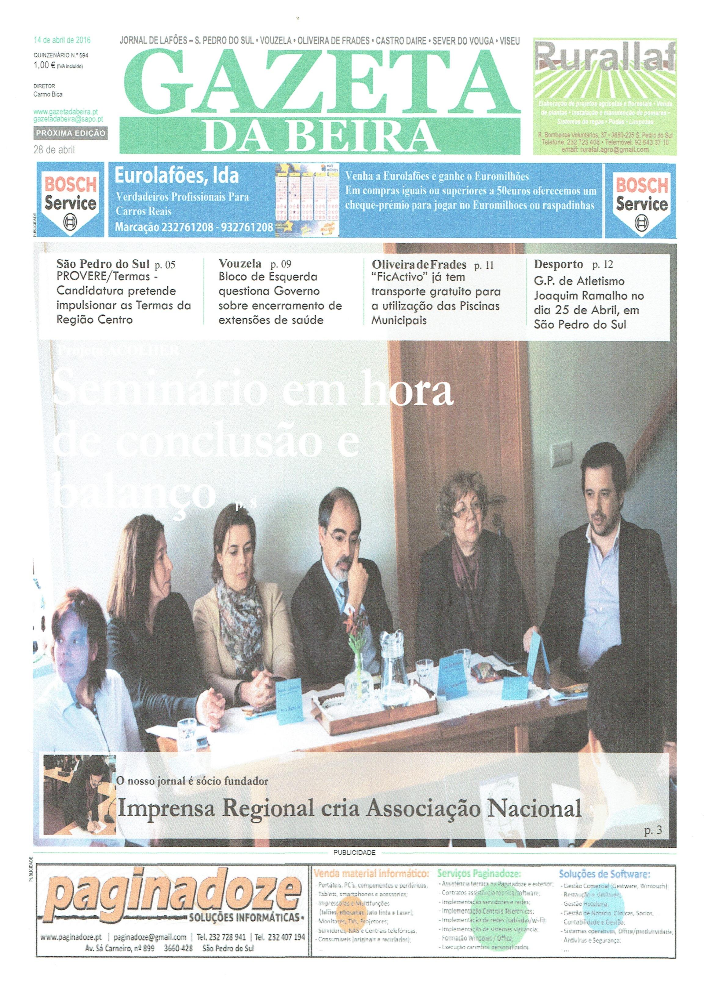 Notícia do Jornal Gazeta da Beira sobre o Seminário final do Projeto ACOLHER